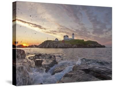 Waves Crash on Rocky Shoreline at Nubble Aka Cape Neddick Lighthouse in York, Maine, Usa-Chuck Haney-Stretched Canvas Print