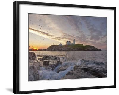 Waves Crash on Rocky Shoreline at Nubble Aka Cape Neddick Lighthouse in York, Maine, Usa-Chuck Haney-Framed Photographic Print