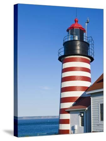 West Quoddy Head Light at Quoddy Head State Park in Lubec, Maine, Easternmost Point of Usa-Jerry & Marcy Monkman-Stretched Canvas Print