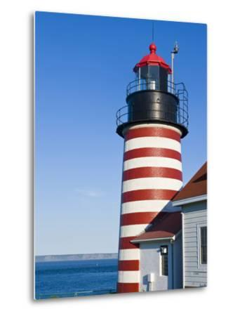 West Quoddy Head Light at Quoddy Head State Park in Lubec, Maine, Easternmost Point of Usa-Jerry & Marcy Monkman-Metal Print