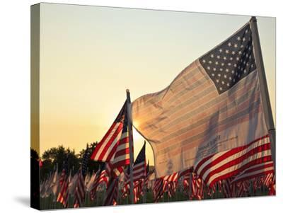 Flag of Honor and American Flags in Honor of the Ten Year Anniversary of 9/11, Salem, Oregon, Usa-Rick A^ Brown-Stretched Canvas Print