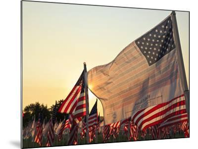 Flag of Honor and American Flags in Honor of the Ten Year Anniversary of 9/11, Salem, Oregon, Usa-Rick A^ Brown-Mounted Photographic Print