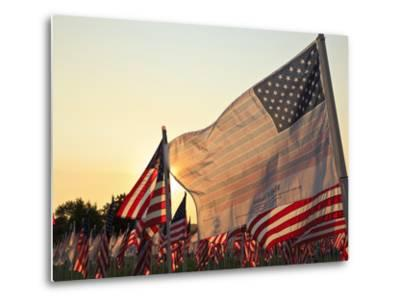 Flag of Honor and American Flags in Honor of the Ten Year Anniversary of 9/11, Salem, Oregon, Usa-Rick A^ Brown-Metal Print