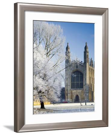 UK, England, Cambridgeshire, Cambridge, the Backs, King's College Chapel in Winter-Alan Copson-Framed Photographic Print