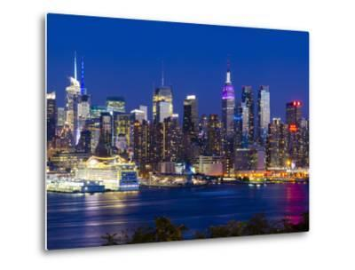 USA, New York, Manhattan, Midtown Skyline with the Empitre State Building across the Hudson River-Alan Copson-Metal Print