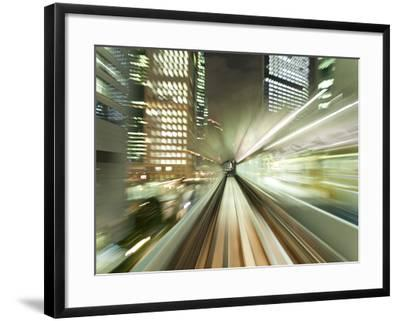 Asia, Japan, Honshu, Tokyo, Pov Blurred Motion of Tokyo Buildings from a Moving Train-Gavin Hellier-Framed Photographic Print