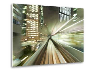 Asia, Japan, Honshu, Tokyo, Pov Blurred Motion of Tokyo Buildings from a Moving Train-Gavin Hellier-Metal Print
