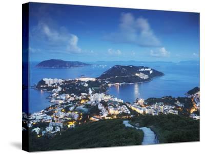 View of Stanley at Dusk, Hong Kong Island, Hong Kong, China-Ian Trower-Stretched Canvas Print
