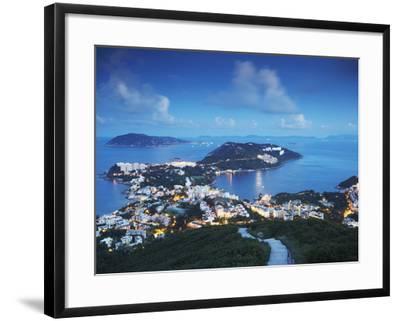 View of Stanley at Dusk, Hong Kong Island, Hong Kong, China-Ian Trower-Framed Photographic Print