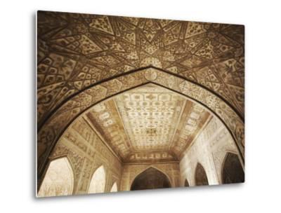 Ceiling of Khas Mahal in Agra Fort, Agra, Uttar Pradesh, India-Ian Trower-Metal Print