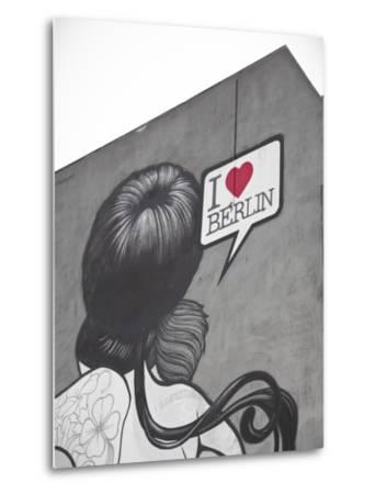 I Love Berlin' Mural on Building, Berlin, Germany-Jon Arnold-Metal Print
