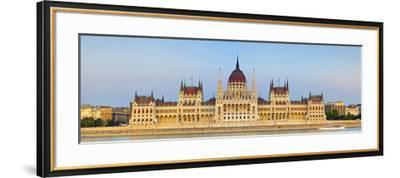 Hungarian Parliament Building and the River Danube Illuminated at Dusk, Budapest, Hungary-Doug Pearson-Framed Photographic Print
