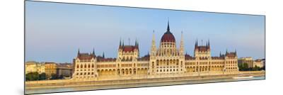 Hungarian Parliament Building and the River Danube Illuminated at Dusk, Budapest, Hungary-Doug Pearson-Mounted Photographic Print
