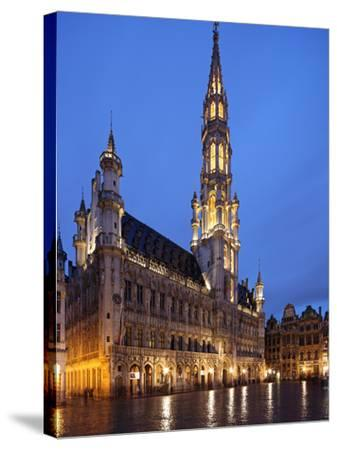 The Town Hall (French: Hôtel De Ville), of City of Brussels Is a Gothic Building from Middle Ages L-David Bank-Stretched Canvas Print