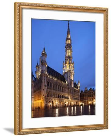 The Town Hall (French: Hôtel De Ville), of City of Brussels Is a Gothic Building from Middle Ages L-David Bank-Framed Photographic Print