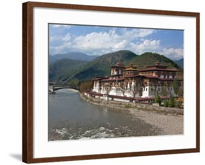 The 17th Century Punakha Dzong (The Palace of Great Happiness), Second Oldest and Second Largest Dz-Nigel Pavitt-Framed Photographic Print