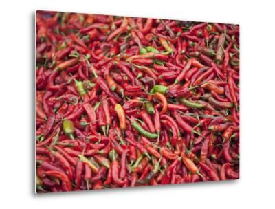 Red Chillies for Sale at Paro Open-Air Market, Red and Green Chillies are Very Important Ingredient-Nigel Pavitt-Metal Print