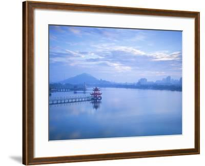 Taiwan, Kaohsiung, Lotus Pond, View of Bridge Leading to Spring and Autumn Pagodas with Statue of S-Jane Sweeney-Framed Photographic Print