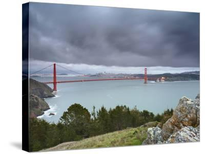 A Large Storm Sweeping into San Francisco Bay at Sunset, with the Golden Gate Bridge-Patrick Smith-Stretched Canvas Print