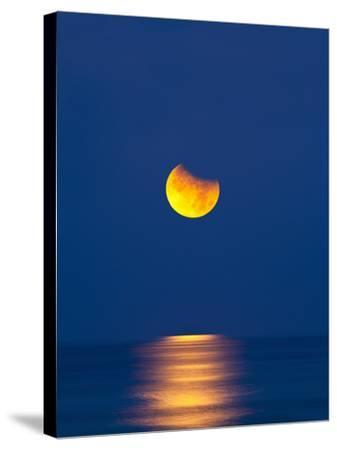 Partial Eclipse of the Moon, Setting over the Gulf of Mexico on the Morning of June 26, 2010-David Nunuk-Stretched Canvas Print