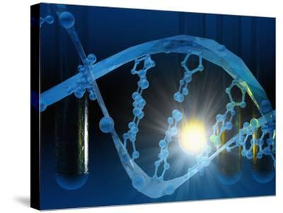Biomedical Illustration of Stylized DNA in Blue with Test Tubes-Carol & Mike Werner-Stretched Canvas Print