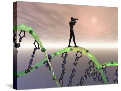 Biomedical Illustration of a Male Human Likeness Standing on a DNA Strand Peering into the Future-Carol & Mike Werner-Stretched Canvas Print