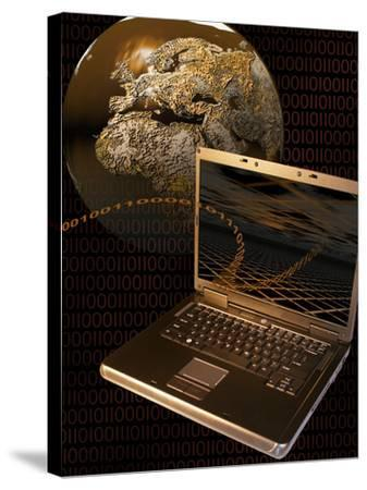 Worldwide Digital Communication Illustrated with a Notebook Computer, a Globe, and Binary Code-Carol & Mike Werner-Stretched Canvas Print