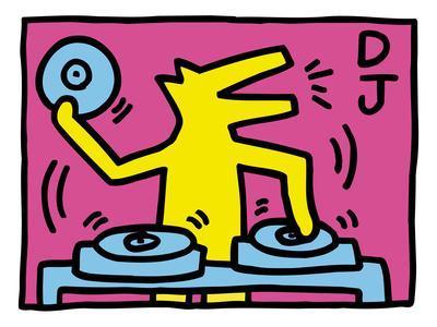 Pop Shop (DJ)-Keith Haring-Framed Premium Giclee Print