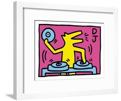 Pop Shop (DJ)-Keith Haring-Framed Art Print