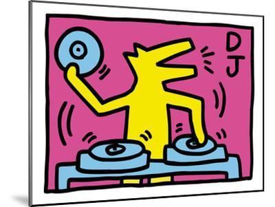 Pop Shop (DJ)-Keith Haring-Mounted Art Print