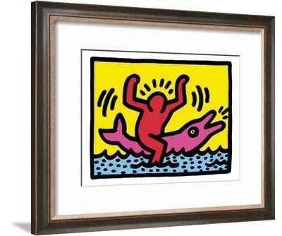 Pop Shop (Dolphin Rider)-Keith Haring-Framed Giclee Print