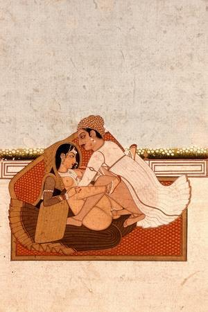 Lovers on a Terrace with White Flowers, Murshidabad, C.1775, (Gouache on Paper)-Indian-Stretched Canvas Print