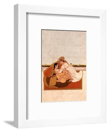 Lovers on a Terrace with White Flowers, Murshidabad, C.1775, (Gouache on Paper)-Indian-Framed Premium Giclee Print