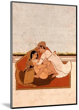 Lovers on a Terrace with White Flowers, Murshidabad, C.1775, (Gouache on Paper)-Indian-Mounted Premium Giclee Print