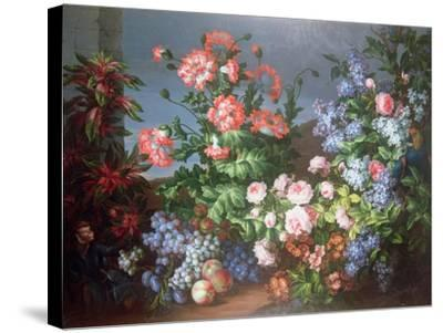 Flowers, Fruit with a Monkey and a Parrot-Jean-Baptiste Monnoyer-Stretched Canvas Print