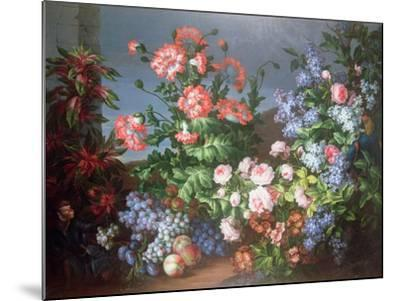 Flowers, Fruit with a Monkey and a Parrot-Jean-Baptiste Monnoyer-Mounted Giclee Print
