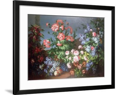 Flowers, Fruit with a Monkey and a Parrot-Jean-Baptiste Monnoyer-Framed Giclee Print
