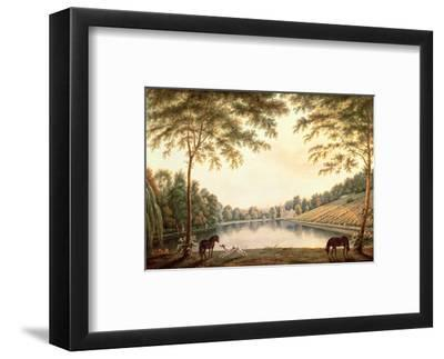 A View of the Lake and Ruins of the Abbey at Painshill, Surrey-G. Barrett-Framed Premium Giclee Print