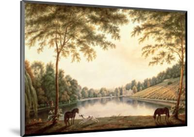 A View of the Lake and Ruins of the Abbey at Painshill, Surrey-G. Barrett-Mounted Premium Giclee Print