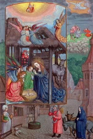 Codex Ser Nov 2844 Birth of Christ, from the Rothschild Prayer Book (Vellum)-Flemish-Stretched Canvas Print