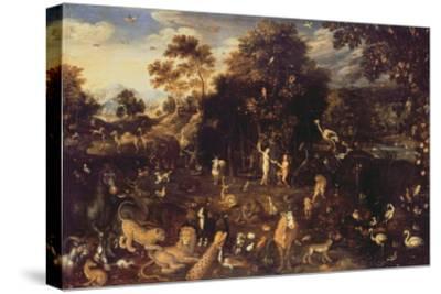 The Garden of Eden with Adam and Eve-Isaak van Oosten-Stretched Canvas Print