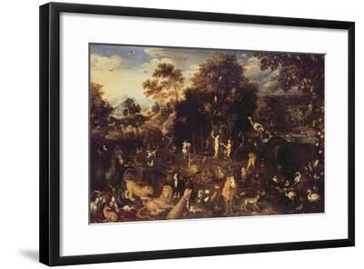 The Garden of Eden with Adam and Eve-Isaak van Oosten-Framed Giclee Print