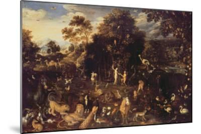 The Garden of Eden with Adam and Eve-Isaak van Oosten-Mounted Giclee Print