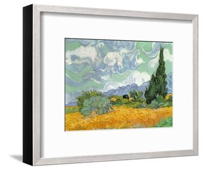 Wheatfield with Cypresses, 1889-Vincent van Gogh-Framed Premium Giclee Print