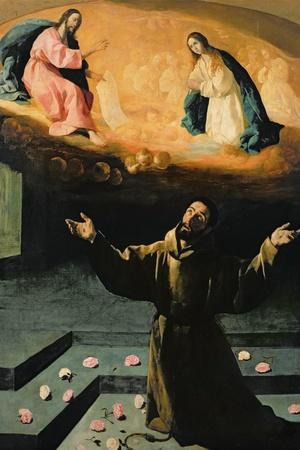 St. Francis of Assisi, or the Miracle of the Roses, 1630-Francisco de Zurbar?n-Stretched Canvas Print
