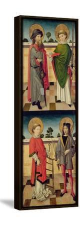 Top: St. Jacob as a Pilgrim and St. Matthew Holding a Book and a Sword- Master of the Luneburg Footwashers-Framed Stretched Canvas Print
