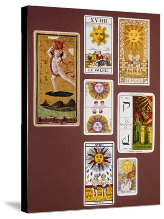 Xviiii the Sun, Seven Tarot Cards from Different Packs--Stretched Canvas Print