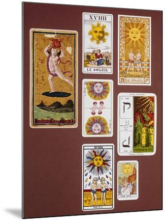 Xviiii the Sun, Seven Tarot Cards from Different Packs--Mounted Giclee Print