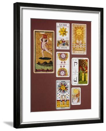 Xviiii the Sun, Seven Tarot Cards from Different Packs--Framed Giclee Print
