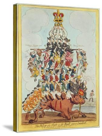 The Pillar of the State, or John Bull Overloaded, after Cruikshank in 1819, 1827-Henry Heath-Stretched Canvas Print